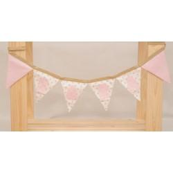 Guirnalda de tela personalizada camel y rosa