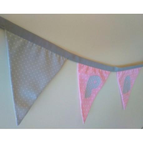 Guirnalda de tela personalizada rosa y gris