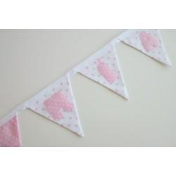 Guirnalda de tela personalizada rosa estrellas