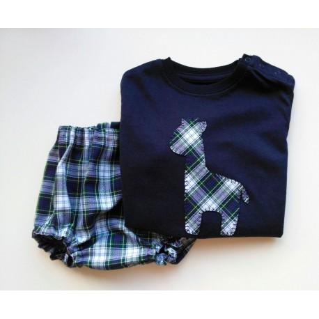 Camiseta y Culotte Escocés Azul
